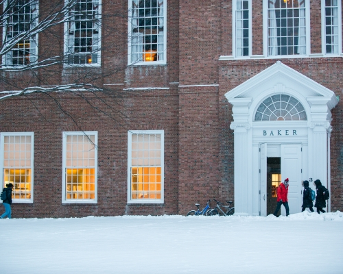 Baker Library entrance during a winter storm