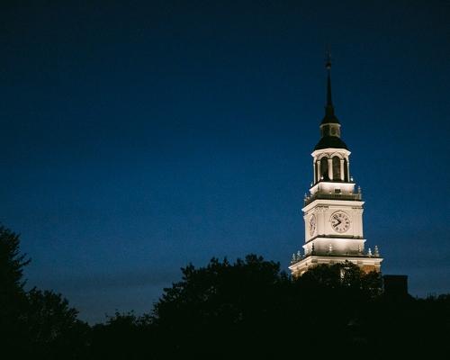 Baker Tower lit at night